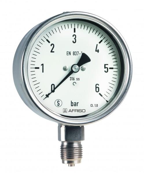 Sicherheitsmanometer Edelstahl, D= 100mm, öl- und fettfrei gereinigt, Anzeigebereich 0-60 bar, Kl.1.