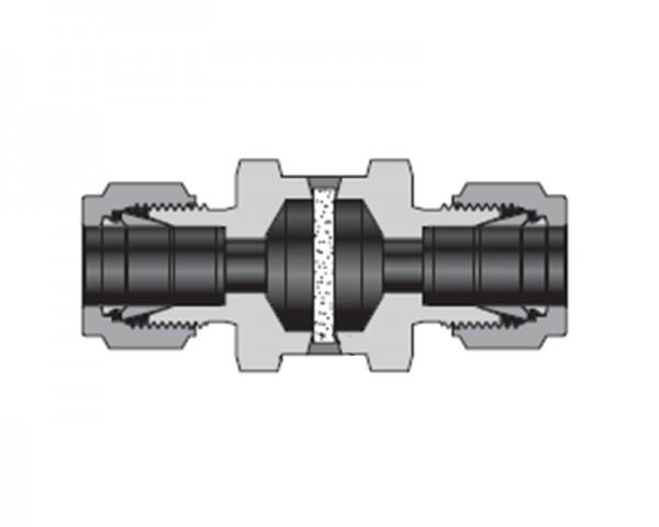 Vollverschweißter Filter, Edelstahl, 6 mm Klemmring x 6 mm Schweißstutzen, 0,5µ Element