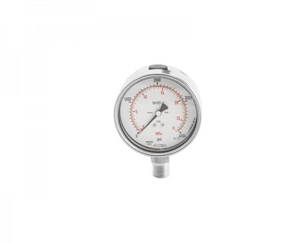 Manometer, Edelstahl, Nennweite 63, 6 mm Rohrstutzen, 0-4 bar, Doppelskalierung bar/psi