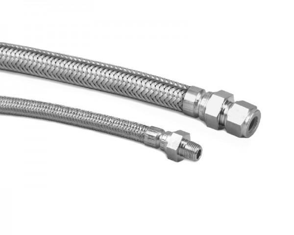Ganzmetallschlauch, ummantelt, 10mm Rohrstutzen x 10 mm Klemmring, L = 350 mm