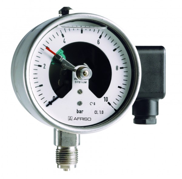 "Rohrfedermanometer mit Grenzsignalgeber, D=63mm, 1/4"" NPT radial unten, 0 / 100 bar, Edelstahl, 1-fa"