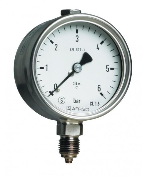 Sicherheitsmanometer Edelstahl, D= 63mm, öl- und fettfrei gereinigt, Anzeigebereich -1 / +3 bar, Kl.