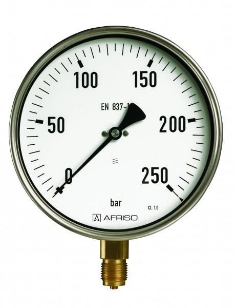 """Rohrfeder Industriemanometer, Anschluss radial unten, G 1/2"""" B, Messing, Gehäuse Edelstahl, Sichtsch"""