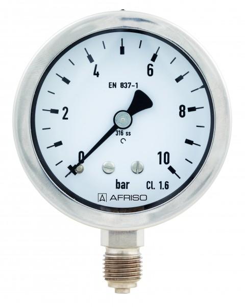 Rohrfeder-Chemiemanometer, 50 mm , Edelstahl 0-100 bar